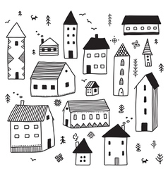 minimal ethnic houses set vector image vector image