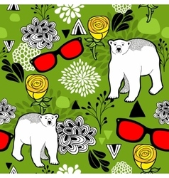 Polar bears and floral elements vector