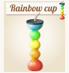 Rainbow ice cup frozen drink unusual shape vector