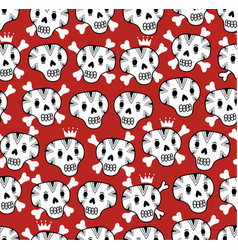 seamless background with funny skulls vector image vector image