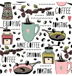 Seamless pattern with coffee objects hand drawn vector