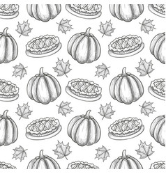 Seamless pattern with pumpkin and leaves vector