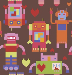 Seamless print with robots vector image vector image