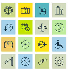 Set of 16 airport icons includes accessibility vector