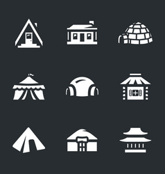 Set of buildings icons vector