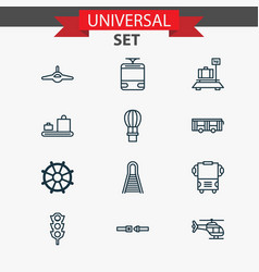Shipping icons set collection of baggage baggage vector