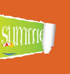 Tearing paper with sign of summer vector
