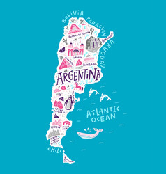the cartoon map of argentina vector image