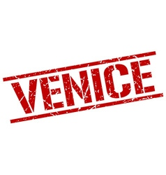 Venice red square stamp vector