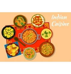 Indian cuisine spicy dishes for lunch menu design vector