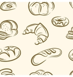 Doodle bread set seamless pattern vector