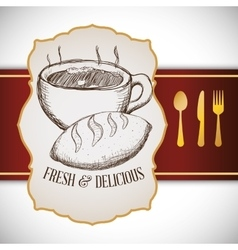 hand drawing breakfast fresh and delicious vector image
