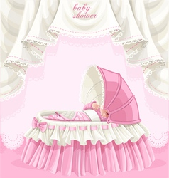 Pink baby shower card with little baby in the crib vector