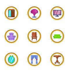 Domestic furniture icon set cartoon style vector