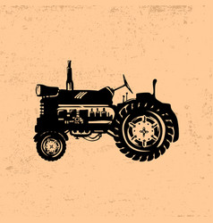 silhouette of a vintage tractor vector image