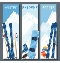 Winter extreme sports banners with mountain winter vector