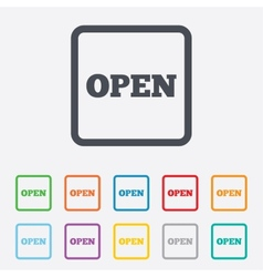 Open sign icon entry symbol vector