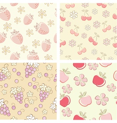 Set if fruit retro seamless patterns vector
