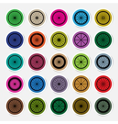 Bicycle wheels sticker vector