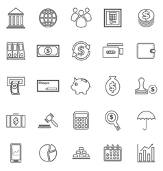 Banking line icons on white background vector