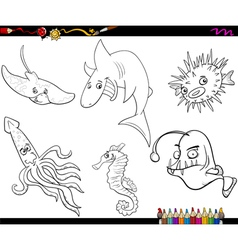Sea life cartoon coloring page vector