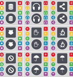 Database headphones share badge hand microscope vector