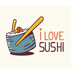 Great blue green sushi with title i love vector