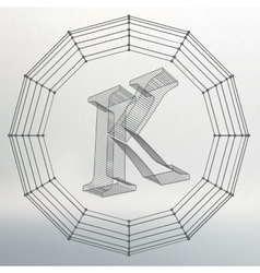 Letter k fonts of mesh vector