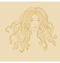 portrait of a girl with long curly hair vector image