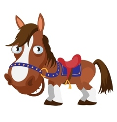 Harnessed brown horse cartoon image isolated vector image