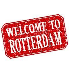 Welcome to rotterdam red square grunge stamp vector