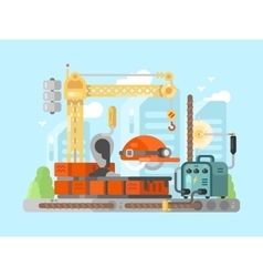 Construction site design concept vector