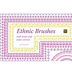 Ethnic mexican brushes set vector