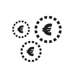 Flat icon in black and white euro coins vector