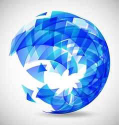 Abstract futuristic blue sphere made of triangles vector image