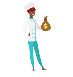 African-american chef cook holding a money bag vector