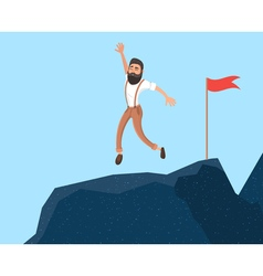 Businessman in mountains leader on the top in vector