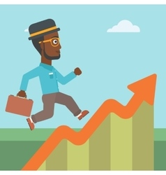 Businessman running along the growth graph vector