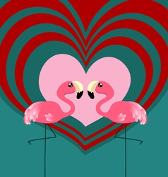 Couple flamingo love vector image vector image
