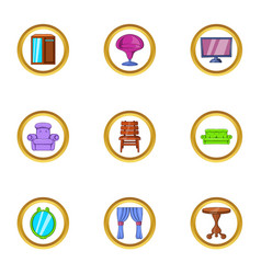 Domestic furniture icon set cartoon style vector