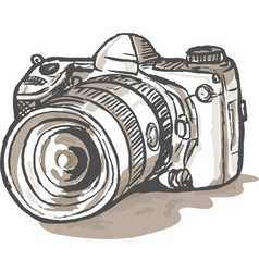 Drawing of a digital slr camera vector
