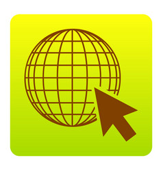Earth globe with cursor brown icon at vector