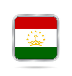 Flag of tajikistan metallic gray square button vector