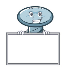 Grinning with board screw character cartoon style vector