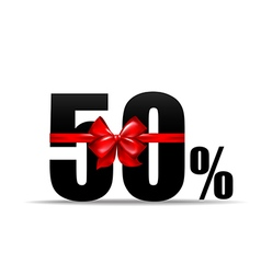 Number 50 percent for discount and sale with red vector
