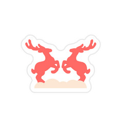 Paper sticker on white background pair of deer vector