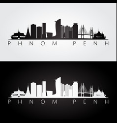 Phnom penh skyline and landmarks silhouette vector