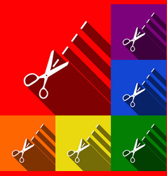 Scissors sign set of icons vector