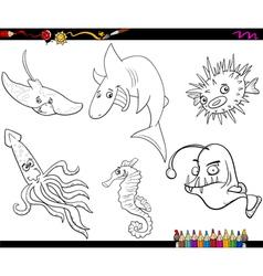 Sea life cartoon coloring page vector