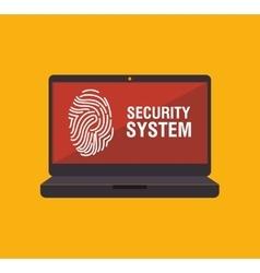 security system fingerpprint laptop vector image